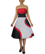 Size 24 Red, Black & White Retro Circle Dress 3X - $43.78