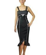 Size 28 Black & White Polka Dot Pin-up Pencil Wiggle Dress ~ 1950's ~ 4X - £36.61 GBP