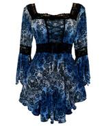 1X 12 14 Twilight Blue Black Print Renaissance Corset Top w Lace Trim Pl... - $39.03