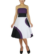 Size 20 Purple, Black & White Retro Circle Dress 2X - $42.62