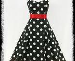 Size 20 Black & White Polka Dot Halter 1950's Swing Dress ~ 2X