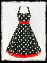 Size 20 Black & White Polka Dot Halter 1950's Swing Dress ~ 2X - $42.52