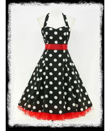 Size 20 Black & White Polka Dot Halter 1950's Swing Dress ~ 2X - $42.52