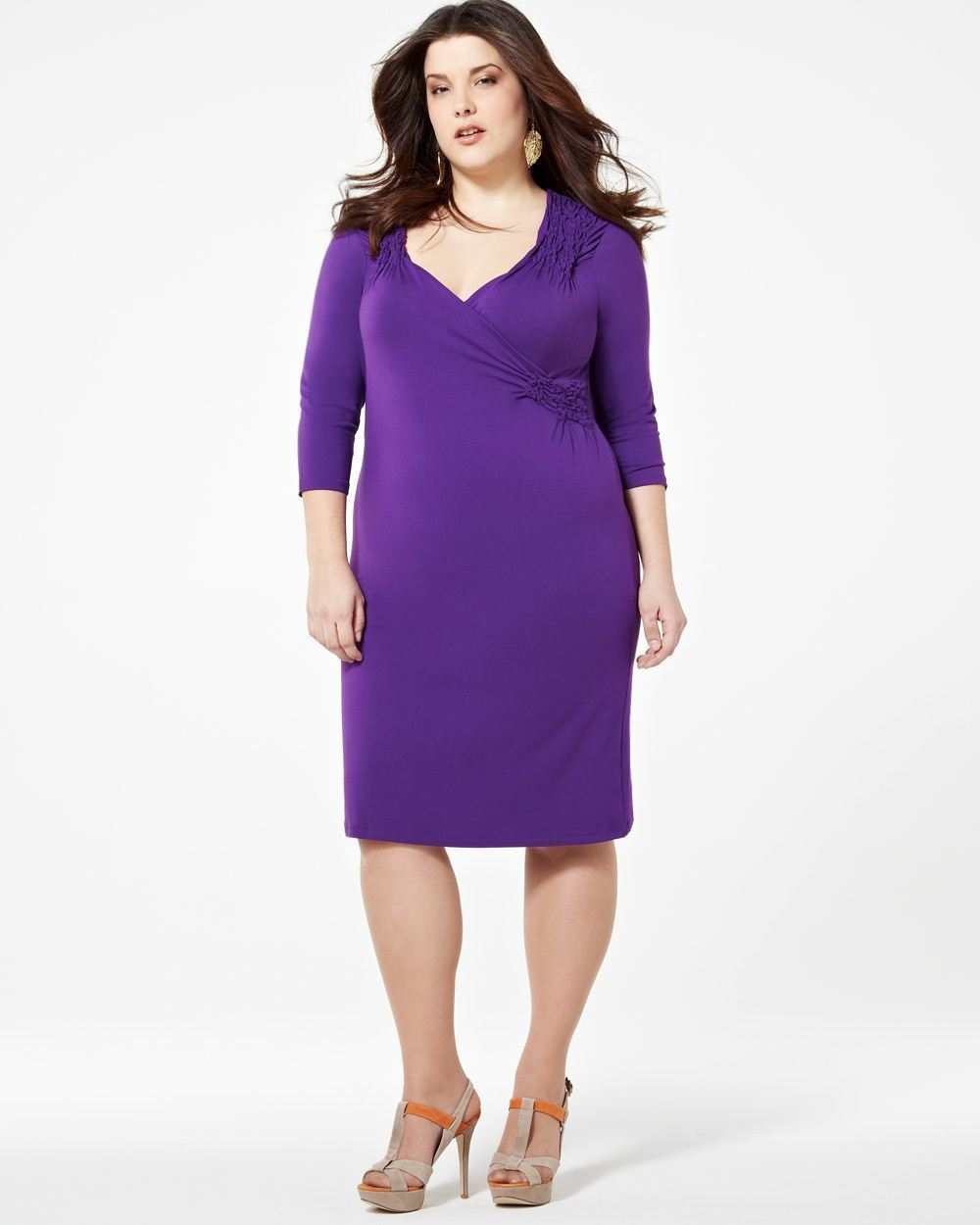 Primary image for 1X Addition Elle Royal Purple Long Sleeve Wrap Look Dress Plus Size NWT 79.99