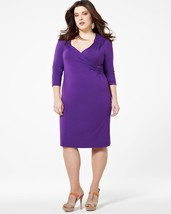 1X Addition Elle Royal Purple Long Sleeve Wrap Look Dress Plus Size NWT ... - $27.49