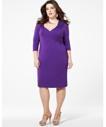1X Addition Elle Royal Purple Long Sleeve Wrap Look Dress Plus Size NWT 79.99 - $27.49