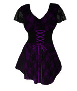 4X 24 26 Purple Lace Overlay Sweetheart Corset Top Plus Size Empire Waist - $52.45
