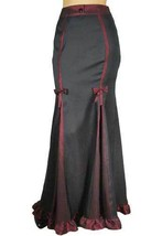 18 20 Sexy Black & Burgundy Gothic Victorian Steampunk Ruffled Hem Skirt 2X - $53.41