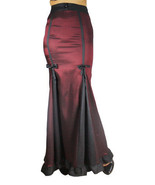 20 22 Sexy Burgundy & Black Gothic Victorian Steampunk Ruffled Hem Skirt 2X - $52.81