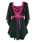 5X 26 28 Pink Bewitched Renaissance Corset Top~Lace Trim~Sexy Sheer Sleeves - $44.15