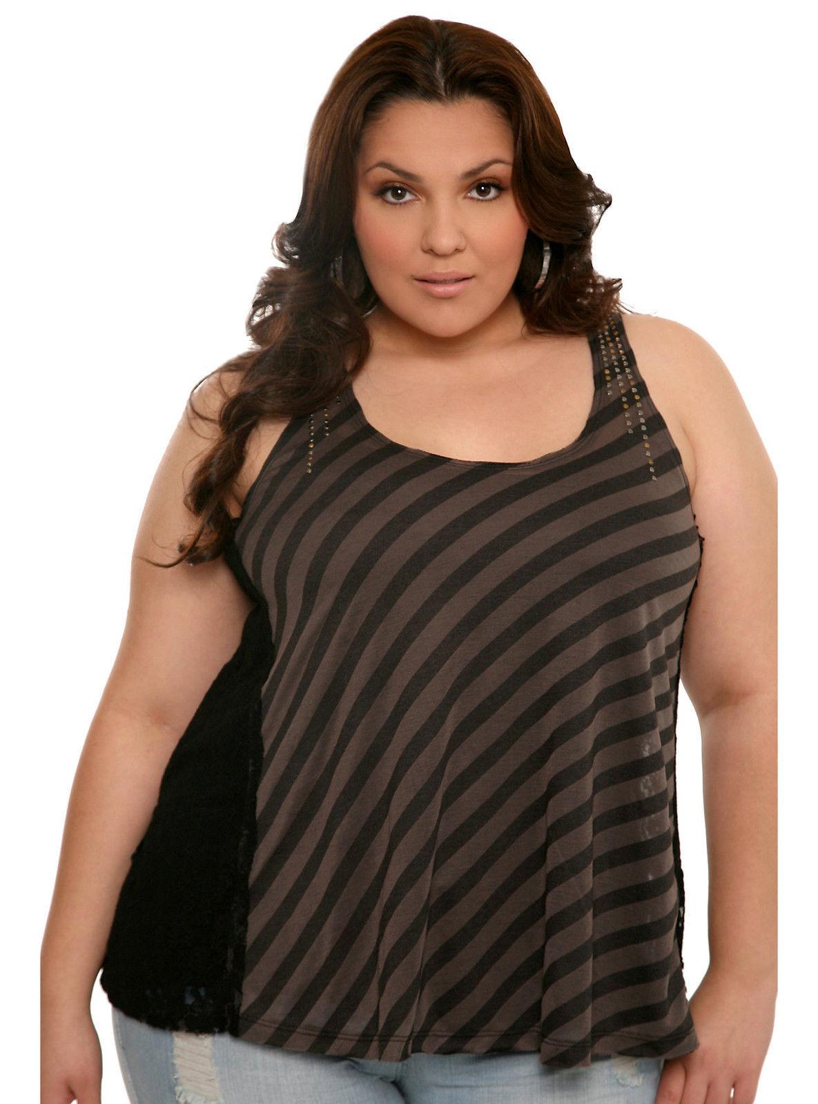 Torrid Size 3 Black Striped Lace Insert 3X 22 24 NWT Tank Top - $31.12