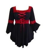 3X 20 22 Red & Black Long Sleeve Renaissance Corset Top w Lace Trim Plus... - $39.03