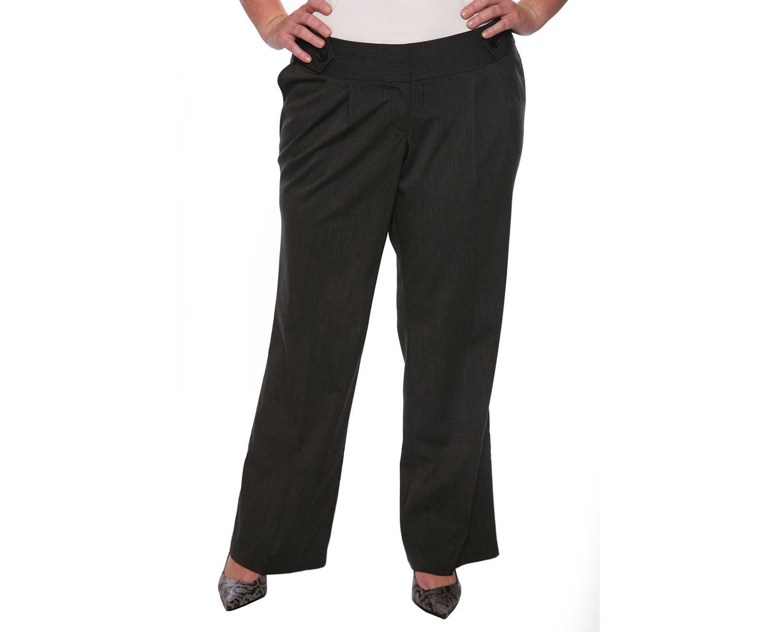 Size 12 Torrid Charcoal Grey with Black Pinstripes Trouser NWOT Career Pants - $35.08