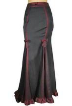 24 26 Sexy Black & Burgundy Gothic Victorian Steampunk Ruffled Hem Skirt 4X - $52.81