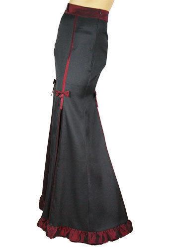 24 26 Sexy Black & Burgundy Gothic Victorian Steampunk Ruffled Hem Skirt 4X