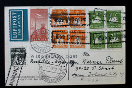 Denmark Stamps Sc# C7, 220, 61 Blk & 246 Blk on Airmail Card to USA June... - $259.99