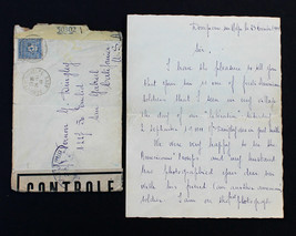 """France Stamp Sc# 2N8 1944 Letter from French Mom to US GI's Mom """"Son is ... - $99.99"""