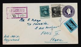US Stamp Sc# 821 & 826 on U436e Registered International Cover to Paris ... - $189.99