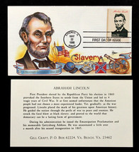U.S. STAMP Sc# 2217 g FDC Gill Craft Large Cachet Abraham Lincoln1986 Am... - $19.98