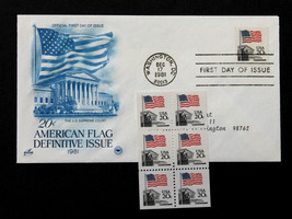 U.S. STAMP Sc# 1896 MNH Booklet Pane of 6 + Artcraft FDC 1981 American Flag - $5.99