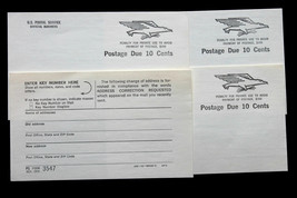 4 US Postage Due Cards PS Form 3547 Postage Due 10 Cents 1970 - $9.89