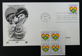 U.S. STAMP Sc# 2248  MNH Plate Block + Artcraft FDC 1987 Love Issue - $3.95