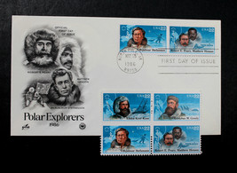U.S. STAMP Sc# 2220-23 MNH  1986 Arctic Explorers Block of 4 + Artcraft FDC - $3.95