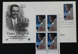 U.S. STAMP Sc# 2211 MNH Block + Artcraft FDC 1986 Duke Ellington - $3.95