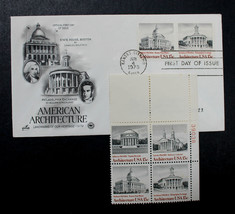 US STAMP Sc# 1779-82 MNH 1979 American Architecture P Blk of 4 + 1 Artcr... - $3.95