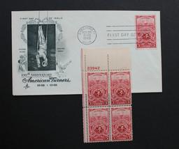 U.S. STAMP Sc# 979 MNH Plate Block + 1 Artcraft FDC 1948 American Turners - $3.95