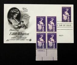 U.S. STAMP Sc# 1833 MNH Block 1980 + Artcraft -FDC Edith Wharton - $3.95