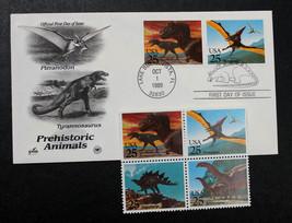 U.S. STAMP Sc# 2422-25 1989 Prehistoric Animals + Artcraft FDC - $3.95