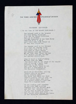 "WW2 3rd Armored ""Spearhead"" Division Original Lyrics ""Tennessee Cannonball"" - $800.00"