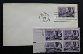 U.S. STAMP Sc# 954 MH Plate Block + 1 FDC 1948 California Gold Centennial - $4.94