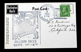 "US STAMP Sc# 632 Perfin ""CBQ"" on Post Card Burlington Route Balloon Races - $159.99"