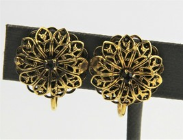 ESTATE VINTAGE Jewelry SIGNED DALSHEIM FILIGREE FLOWER CLIP EARRINGS  - $10.00