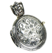 Gerochristo 3351 - Sterling Silver Engraved Round Locket Pendant  - $140.00