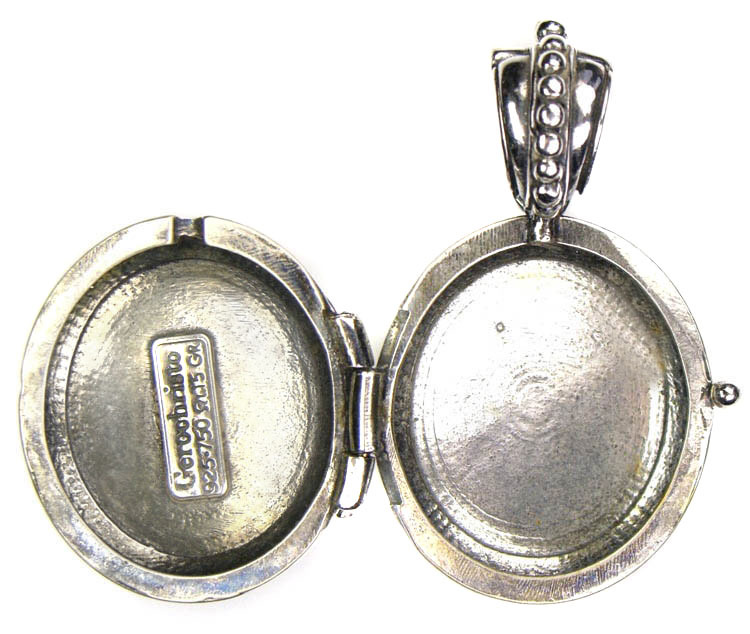 Gerochristo 3351 - Sterling Silver Engraved Round Locket Pendant