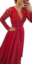 Blevla V Neck Long Sleeve Prom Dress Evening Party Gowns Red US 8 - $125.99