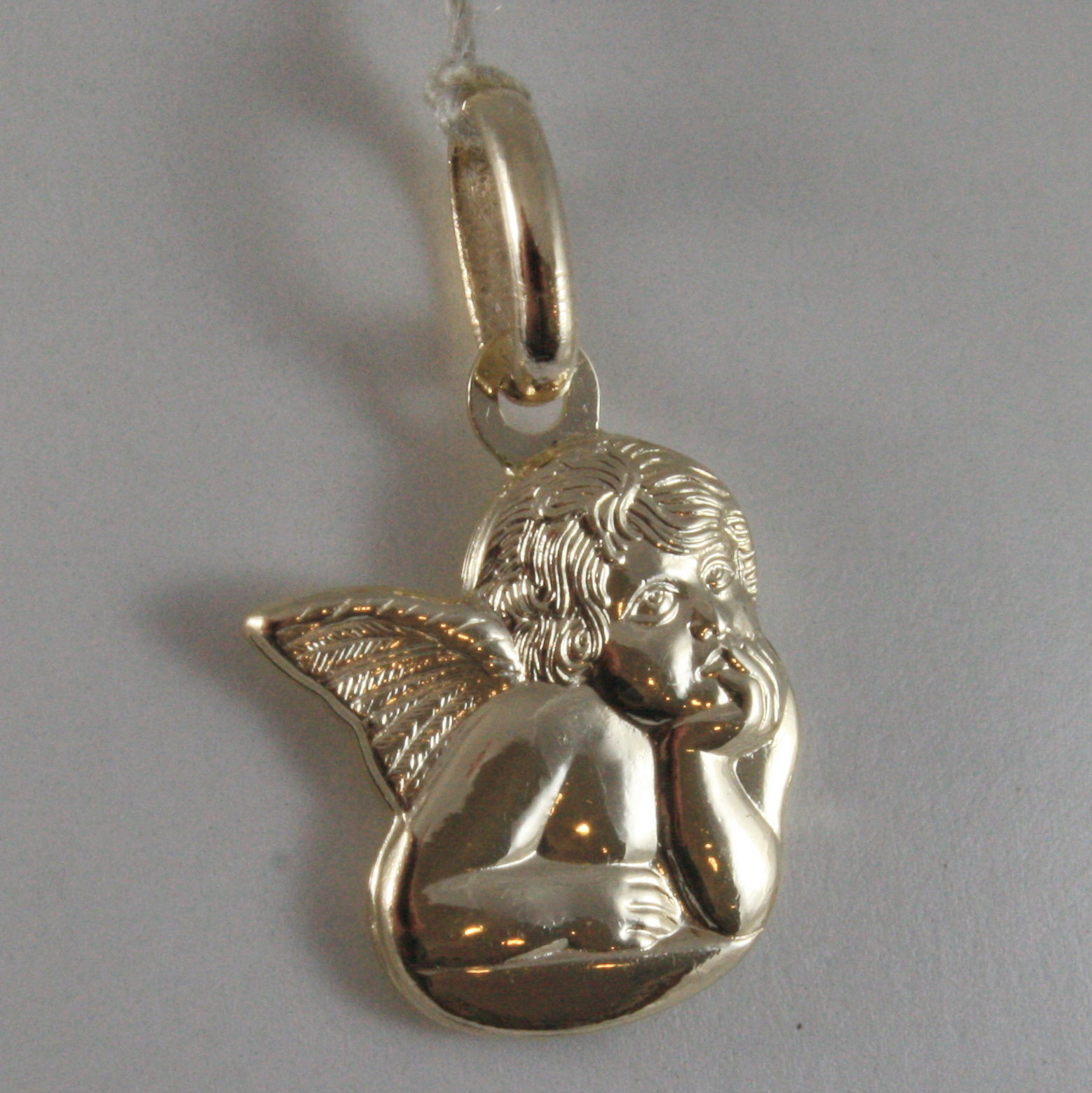 SOLID 9K YELLOW GOLD ANGEL PENDANT, STYLIZED, MADE IN ITALY, STYLISED, 9KT