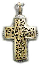 Gerochristo 5247 - Solid 18K Gold & Sterling Silver Byzantine Cross Pendant - $1,090.00