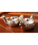 LOT 2 VTG SILVER PLATED ENGLISH CHICKEN EGG CUPS ZINC ENGLAND KITCHEN DECOR - $45.95