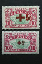 Stamp Reunion France Sc# 82-83 MH Ovpt. Transfer on Back - $8.90