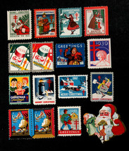 Lot of 15 Vintage Christmas Seals from 1930's & 40's Plus 1 Vintage Sant... - $15.99