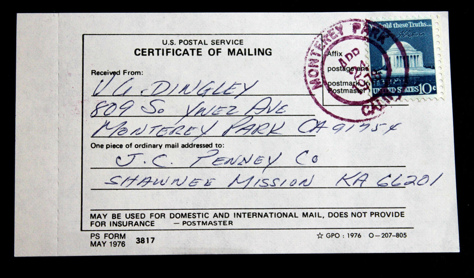 3817 certificate mailing form cds 1510 1978 tied sc purple booth