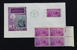 US Stamp Sc# 798 FDC 1937 3c Constitution Sesquicentennial + Plate # Block - $3.95