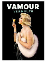 VAMOUR Vermouth 17 x 22 inch Advertising Liquor Aperitif Giclee CANVAS P... - $59.00