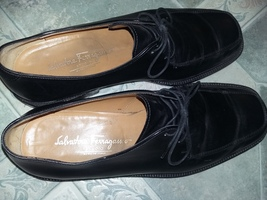 Mens Salvatore Ferragamo Black Leather Shoes 8/12 Italy Dress in Luxury - $109.99