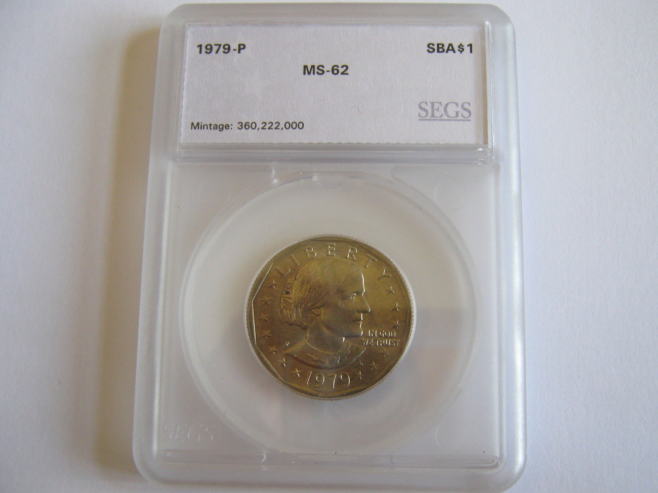 Susan B. Anthony Dollar , Lot 3 , 1979-P , SEGS Certified