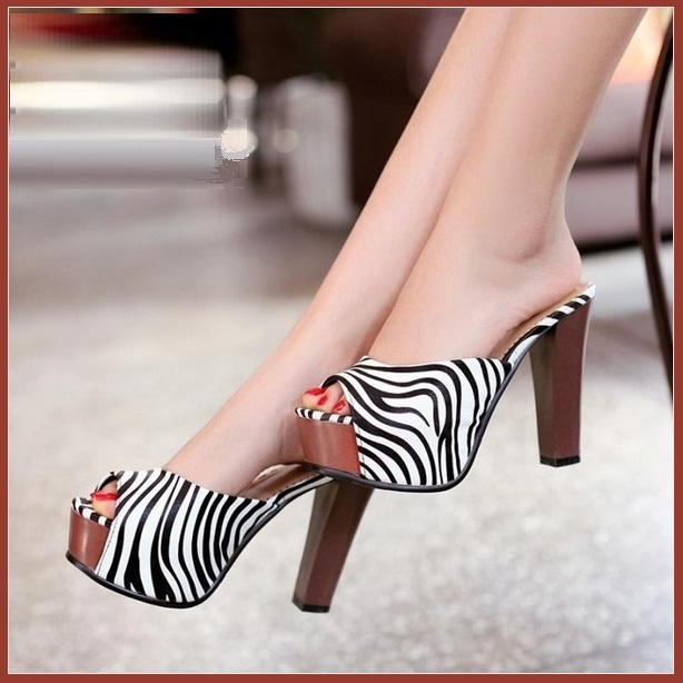 Zebra Striped Black n White PU Leather Stiletto Peep Toe High Heel Slide Sandals